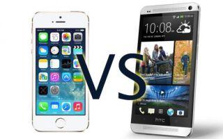 Сравнение HTC One и iPhone 5s — цена, технические характеристики и прочее.